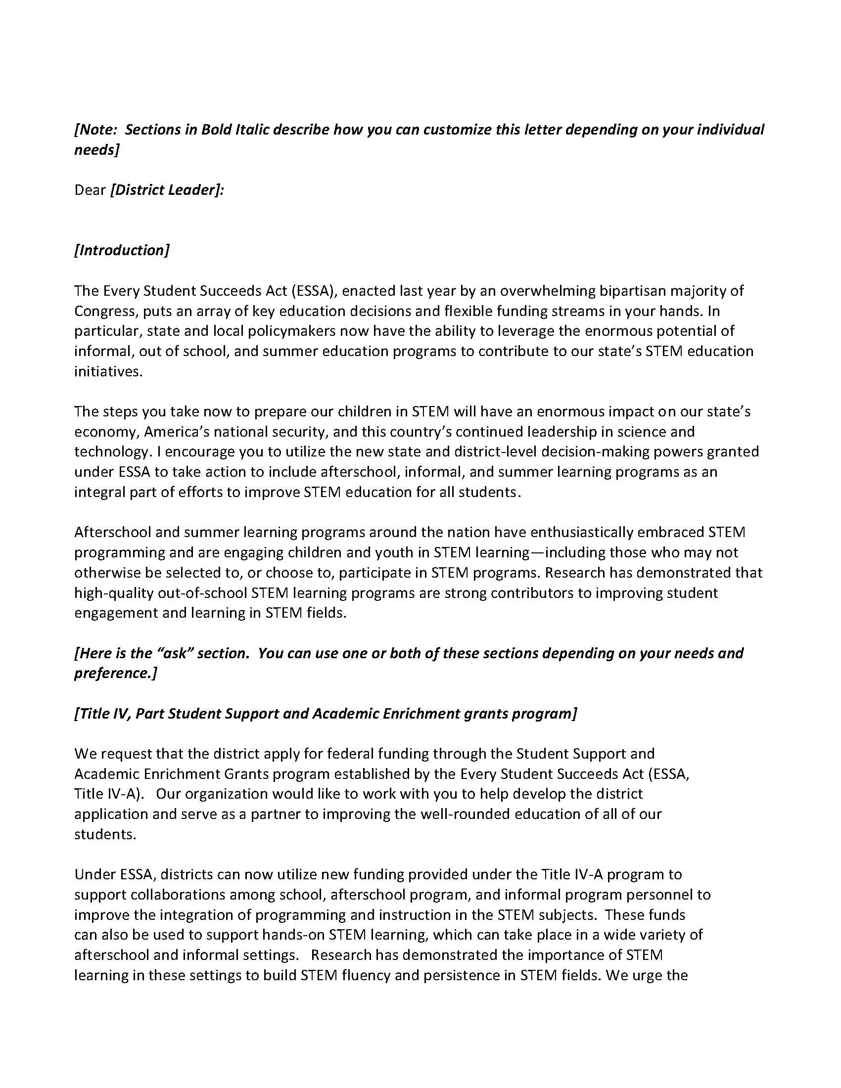 Informal education state advocacy resources for Advocacy letter template